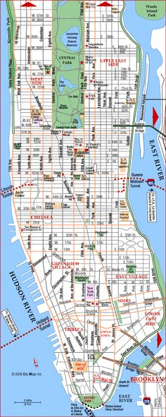road map of manhattan manhattan new york