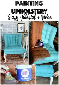 Painting fabric upholstery using new product, FAB, that primes and seals and leaves fabric feeling soft.