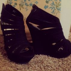 TALL black strappy wedges