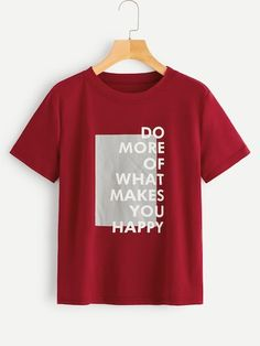 To find out about the Slogan Print Tee at SHEIN, part of our latest T-Shirts ready to shop online today! Women Slogan, T Shirts For Women, Cool Shirt Designs, Style Blogger, Shirt Print Design, Latest T Shirt, Plus Size T Shirts, How To Make Tshirts, Printed Tees