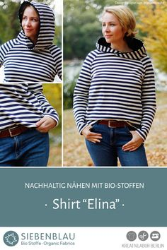 "Schnittmuster Shirt ""Elina"" aus Siebenblau-Stoffen genäht von MaKaMo näht Raglan Shirts, Diy Fashion, Turtle Neck, Blouse, Long Sleeve, Sleeves, Sweaters, Tops, Women"