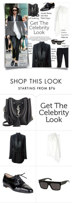 """""""Celebrity style: Kendall Jenner"""" by hafsahshead ❤ liked on Polyvore featuring Yves Saint Laurent, BLK DNM, Victoria Beckham, Manolo Blahnik, CÉLINE and Etienne Marcel"""
