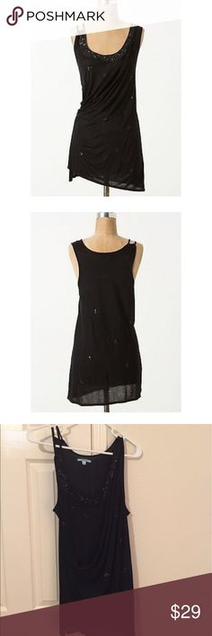"""Make an offer!! Anthropologie Leif Notes Tank Steal the show in this fancy top! """"Black onyx noise"""" Adorable straps - one is tank style, one is a double spaghetti strap style. Cute gathering at side that creates a cute, flattering drape across the belly. Pretty beaded, embellishments give this top some fancy flair.  Excellent condition. Hand wash. ~ 17 inches from pit to pit ~ 28 inches long Anthropologie Tops"""