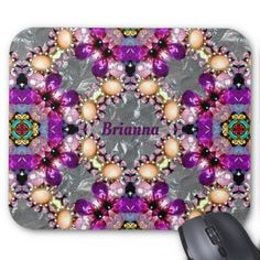 Purple Silver Pattern Personalised for BRIANNA  Mouse Pad - pattern sample design template diy cyo customize