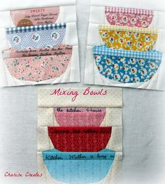 Charise Creates: A Woman's Work Mixing Bowls Paper Piecing Quilt Block Quilting Tips, Quilting Projects, Sewing Projects, Paper Pieced Quilt Patterns, Quilting Patterns, Farm Quilt, Foundation Paper Piecing, Girls Quilts, Vintage Quilts