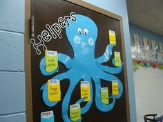 Octopus Job Chart ~ Perfectly cute way to display classroom helpers! Photo by cupcakesandlove Classroom Job Chart, Classroom Helpers, Kindergarten Classroom, Birthday Chart Classroom, Classroom Displays, Classroom Themes, Ocean Themed Classroom, Charts For Classroom Decoration, Class Displays