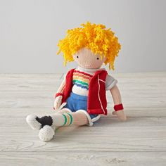 Shop Yellow Knit Crowd Sporty Meg Doll.  One doll's a pal.  Two is company.  And three's a crowd.  Especially when they're these super soft, hand knit dolls with stylish outfits.
