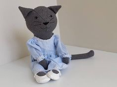 Rag Doll Cat in Pinstripe Dress Wool Cat Doll Gift for Girl