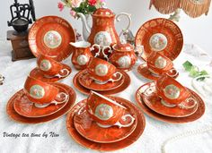 Tea set vintage porcelain tea set Oscar by VintageTeaTimeByNiw
