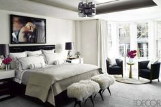 Black & Neautral Master Bedroom