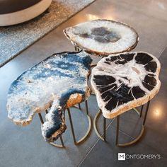 South Dakota Furniture Stores - Wohnen - One-of-a-kind 1 and geode accent tables δδ Available at Montgomery& in Sioux Falls, Madison - Resin Crafts, Resin Art, Rustic Outdoor Decor, Vibeke Design, Decoration Bedroom, Resin Table, Bedroom Night Stands, Deco Design, Home And Deco