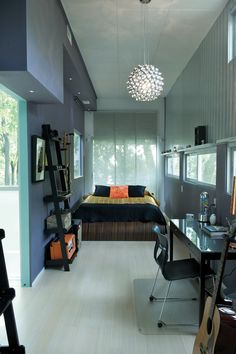 12 Ideas shipping container house interior bedrooms for Stylish Shipping Container Home in Kansas City Building A Container Home, Building A Tiny House, Container House Plans, Cargo Container, Build House, Container Home Designs, Long Narrow Bedroom, Narrow Bedroom Ideas, Home Interior Design