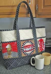 Newsletter for PursePatterns.com for December, 2012 - Pattern shown is A Novel Approach Tote Bag Pattern by Poorhouse Quilt Designs