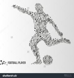 Abstract Geometric Molecule Polygonal Football Soccer Player Silhouette Isolated On Gradient Background Fotka: 383112832 : Shutterstock