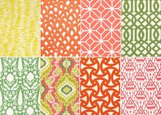 SCHUMACHER FABRICS  I love SCHUMACHER'S bright graphic fabrics especially their designs by TRINA TURK and KELLY WEARSTLER. For more affordable pillows and accessories, check out the selections on ETSY.