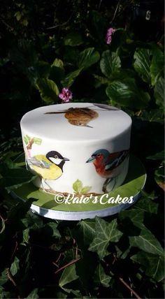 Hand painted garden bird cake