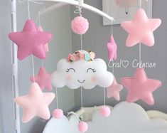 Baby girl crib mobile with brown bear on the cloud. Pink cot mobile for nursery decor with silver stars moon clouds. Pink Cot Mobile, Baby Crib Mobile, Baby Mobiles, Clouds Nursery, Star Nursery, Girl Nursery, Baby Boy Cribs, Girl Cribs, Nursery Modern