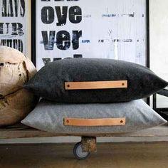 Coloque alças de couro em suas almofadas.