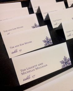 Snowflake Place Cards, Winter Placecards, Purple Placecards, Dark Purple Place Cards - Glam Winter Placecards