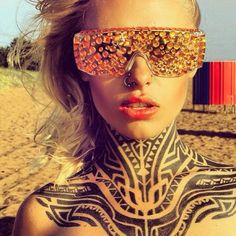 Teya Salat, girl with full neck tribal tattoo, tattoo model, ink girl, #teyasalat