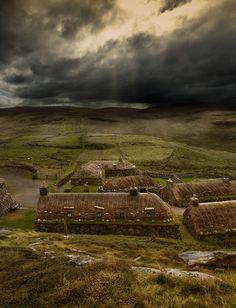 The Blackhouse Village on the Isle of Lewis, Scotland.