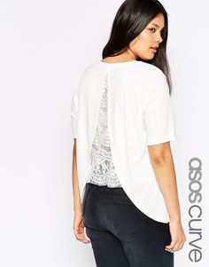 ASOS CURVE Crepe Top with Split Back and Lace Insert