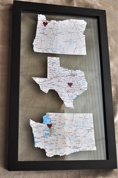 i like this... we'd need a long frame to include the places each of us has lived, but i think it'd be cute in our room