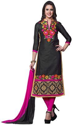 Dress Material Cotton Embroidered Salwar Kameez M345-7507 At Aimdeals.com
