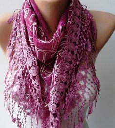 Fuchsia Lace and Elegance Shawl / Scarf by SwedishShop on Etsy, $17.90