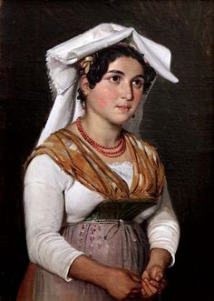 Wilhelm Marstrand Copenhague Young italian woman with her rosary Jeune femme italienne avec son chapelet vers 1840 Copenhague Collection Hirschsprung Woman Painting, Oil Painting On Canvas, Canvas Art, Fashion History, Fashion Art, Italian Women, Folk Costume, Chinese Style, Sculpture