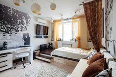 Meleg színek természetes anyagok - kétszobás lakás otthonos kényelmes dekoratív berendezése