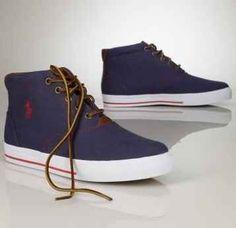 Ralph Lauren Red Black White Sander Boat Canvas Shoes