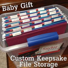 COBO: Baby Gift Idea- Custom Keepsake File Storage   My completed DIY project! Perfect for a baby shower or baby gift for boy or girl. Make a file box with cute labels for parents to store all their little ones important papers, projects, and pictures as they grow. When they graduate, hand them the box with all their momentos!