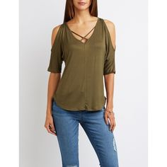 Charlotte Russe Caged Cold Shoulder Tee ($15) ❤ liked on Polyvore featuring tops, t-shirts, olive, curved hem tee, brown v neck t shirt, brown t shirt, curved hem t shirt and v neck t shirts
