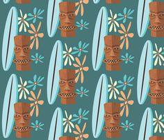 TIKI_SURFER_GIRL3 fabric by garwooddesigns on Spoonflower - custom fabric