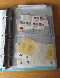 Planner pockets - store stamps and return address labels in homemaker binder (and maybe some envelopes and thank you cards!)