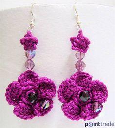 Tempo Libero: news e articoli Crochet Earrings Pattern, Bead Crochet, Crochet Necklace, Crochet Patterns, Textile Jewelry, Beaded Jewelry, Handmade Jewelry, Jewellery, Quilling Jewelry