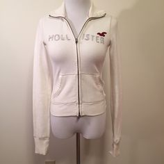 White Hollister Hoodie Such a classic hoodie. A must-have for the colder months. No trades, please Hollister Tops Sweatshirts & Hoodies