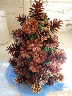 pine cone crafts | ... more Christmas, a tiny pine cone tree I made #crafts #handmade #tree