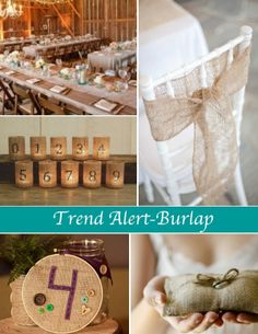 Tea light jars with the table numbers.... For head table....  Burlap Decorations