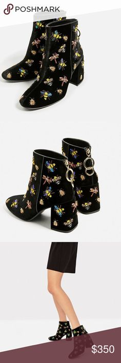Velvet ankle boots with beaded insects.., size 8 Black velvet... upper with beaded and embroidered insects... back zipper with rings on pull tab... very on trend... sold out on line... euro size 39 Zara Shoes Ankle Boots & Booties