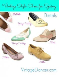 Vintage inspired flats and low heel shoes in spring pastels at VintageDancer.com