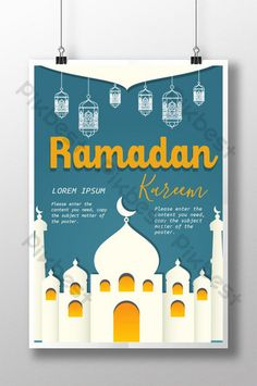 Simple Poster Of Lanterns Hanging Down In Ramadan Blue And White Arab Castle Islamic Posters, Simple Poster, Powerpoint Word, Social Media Banner, Music Decor, Eid Mubarak, Psd Templates, Banner Design, Ramadan
