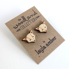 NEW  Wooden Fox Stud Earrings by laylaamber on Etsy, £5.50
