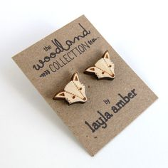 NEW  Wooden Fox Stud Earrings by laylaamber on Etsy, £5.50