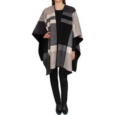Ike Behar Ladies' Reversible Fashion Wrap-Charcoal & Cream