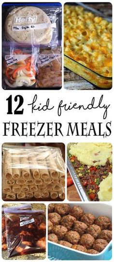 A dozen different Kid friendly Freezer Meals... These Make Ahead Meals will be a game changer when you are busy and need something fast and easy to cook.
