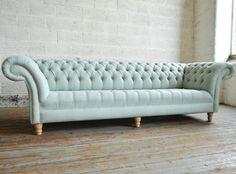 Bespoke Pistachio blue, woven fabric - 4 seater Chesterfield Sofa | Abode Sofas
