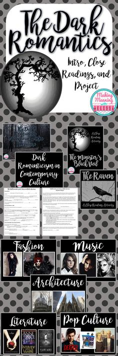 This unit provides a great introduction to American Dark Romanticism. It includes an introductory powerpoint with a Cloze notes handout, a powerpoint showing how gothic elements are still present in pop culture, two close reading assignments (The Minister's Black Veil and The Raven), both with answer keys, and a project with rubric.