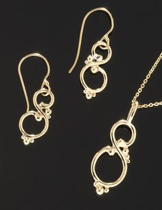 """The S Swirl"" pendant and earrings, available at http://goldcrafterscorner.com/leaves-and-swirls"